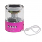Aller COV lumière LED Portable Media Player Speaker w / FM / TF / Mini USB - rose Transparent + profonde