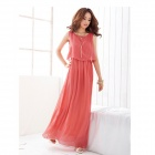 Stylish Bohemian Style Chiffon Long Dress - Pink (L)