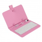 "Universal Micro USB Wired 80-Key Keyboard PU Leather Case Stand for 7"" Tablet PC - Pink"