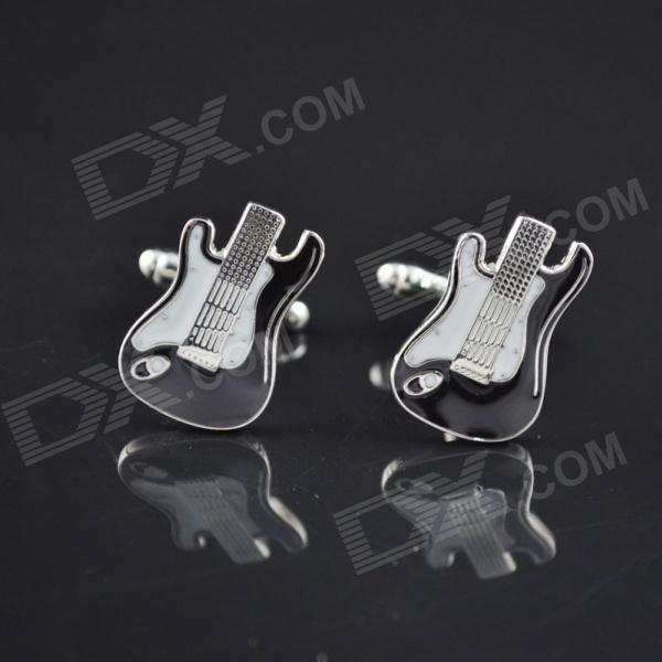 DEDO MG-117 Shirt Cufflink Guitar Style Cufflinks - Silver White + Black (2 PCS)