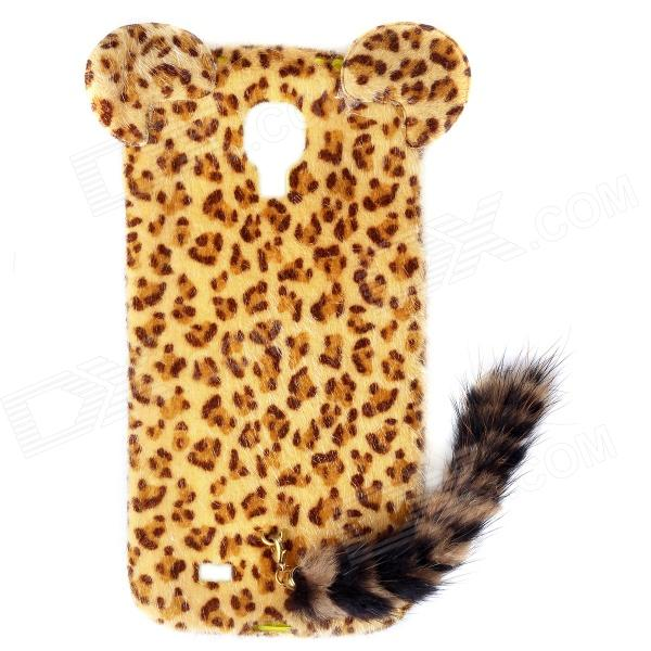 Leopard Print Pattern Protective Plastic Case w/ Tail for Samsung Galaxy S4 i9500 - Black + Yellow leopard print pattern protective plastic back case w tail for samsung galaxy s4 i9500 deep pink