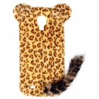 Leopard Print Pattern Protective Plastic Case w/ Tail for Samsung Galaxy S4 i9500 - Black + Yellow