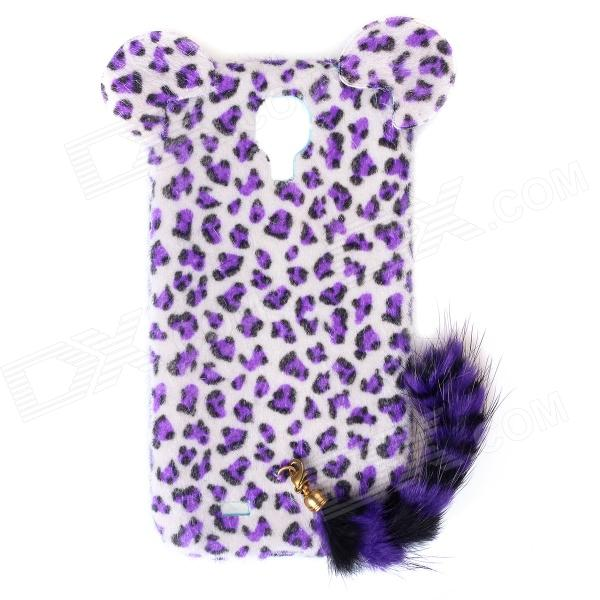Leopard Print Pattern Protective Plastic Case w/ Tail for Samsung Galaxy S4 i9500 - White + Purple leopard print pattern protective plastic back case w tail for samsung galaxy s4 i9500 deep pink