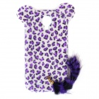 Leopard Print Pattern Protective Plastic Case w/ Tail for Samsung Galaxy S4 i9500 - White + Purple