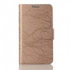 Flower Show Protective Leather Case w/ Holder / Card Slot for Samsung Galaxy Note 2 N7100 - Khaki