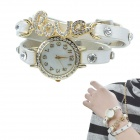LOVE Style Crystal Inlaid Leather Band Quartz Analog Bracelet Watch - White