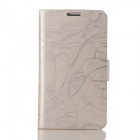Flower Show Protective PU Leather + PC Case for Samsung Galaxy Note 2 N7100 - Beige