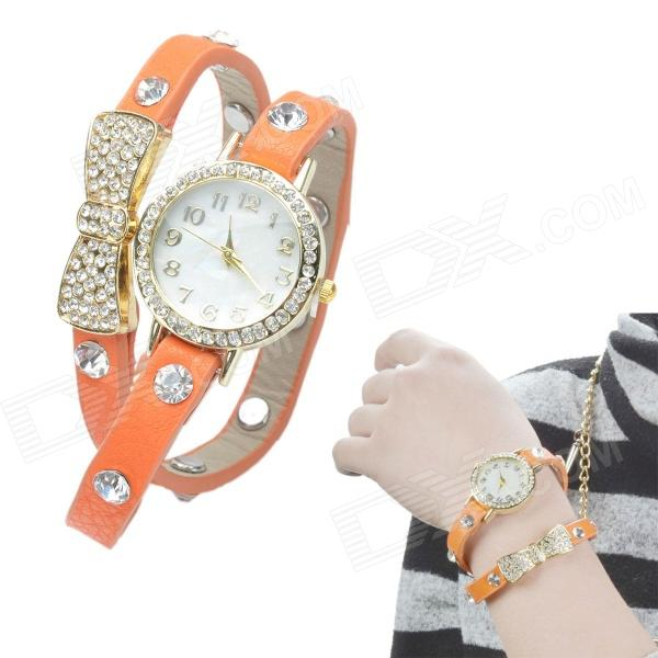 Crystal Inlaid Bowknot 2-laps Leather Band Quartz Analog Bracelet Watch - Orange Red s012 stylish shiny crystal inlaid leaf patterned analog quartz wrist watch w pu band 1 x 377