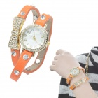 Crystal Inlaid Bowknot 2-laps Leather Band Quartz Analog Bracelet Watch - Orange Red