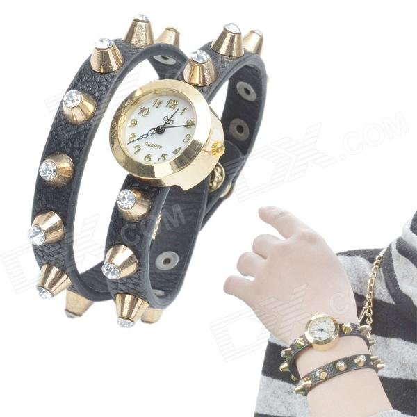 Fashionable Rivet Style PU Leather Quartz Analog Wrist Watch - Black