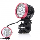 ZHISHUNJIA 6 x Cree XM-L T6 3000lm 3-Mode White Bicycle Light - Black + Red (6 x 18650)