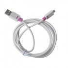 KS-308 Universal Round USB 2.0 Male to Micro USB Male Data Charging Cable for Samsung / HTC - White