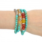 SHIYING C04106 Bohemian Style Blue Turquoise + Crystal Bracelet - Blue + Red