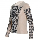 JuQi Tattoo Style Nylon + Spandex T-Shirt Clothes - Black + Beige