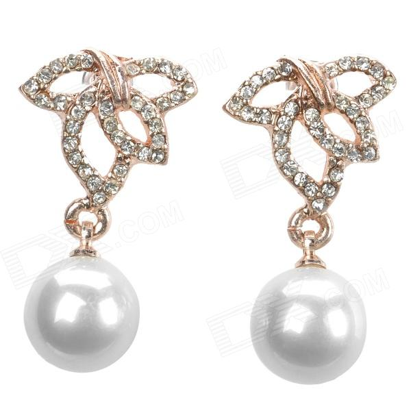 SHIYING e0050 Leaf & Pearl Style Elegant Earrings - Golden + White (Pair) cross style zinc alloy rhinestone women s earrings white golden pair