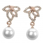 SHIYING e0050 Leaf & Pearl Style Elegant Earrings - Golden + White (Pair)