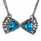 SHIYING a01215 Elegant Blue Crystal Necklace for Women - Blue + Black