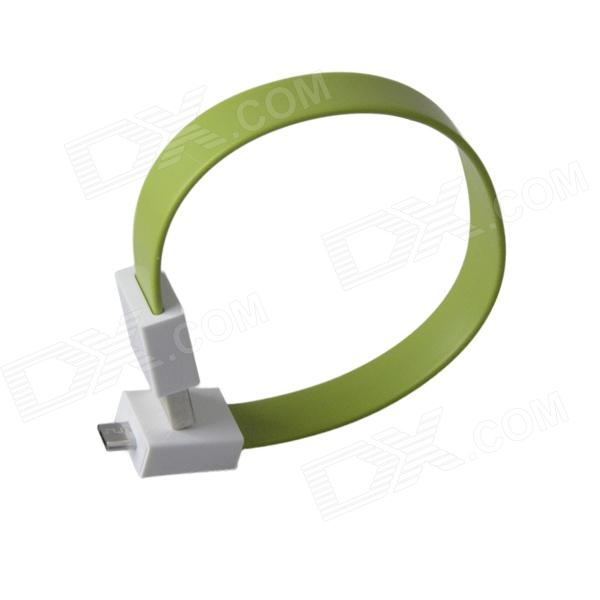 Bracelet Style Magnetic Micro USB Male to USB Male Data Charging Flat Cable - Green (24cm)