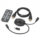 Micro USB to HDMI Cable HDTV Adapter w/ Remote Control + HDMI Cable Set - Black