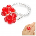 Red Synthetic Quartz Finger Ring for Women - Red + White (U.S Size 6.5)