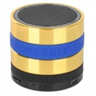 Portable Bluetooth V3.0 Speaker w/ TF / FM / Hands-Free Calls - Golden + Blue + Multi-Colored