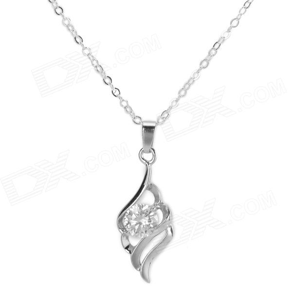 Elegant Platinum Plated Brass Angel's Wings Style Pendant Necklace for Women - Silver