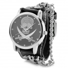 Eastor LN0011 Skull Head Analog Quartz Wrist Watch - Black + Silver