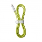 Magnetic USB to Micro USB Charging Data Cable for Samsung / HTC / Blackberry - Green + White (100cm)