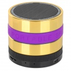 Portable Bluetooth V3.0 Speaker w/ TF / FM / Hands-Free Calls - Golden + Purple + Multi-Colored