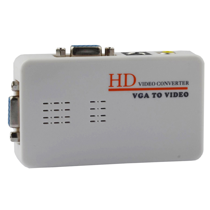 HD 1080p VGA to AV / S-Video ConverterNetwork Cables and Adapters<br>Form ColorBeigeBrandN/AQuantity1 DX.PCM.Model.AttributeModel.UnitMaterialABS housingPowered ByUSBSupports SystemWin xp,Win 2000,Win 2008,Win vista,Win7 32,Win7 64,LinuxPacking List1 x Video converter1 x VGA cable (120cm)1 x USB power cable (120cm)1 x AV video cable (110cm)1 x S-video cable (180cm)1 x English manual<br>