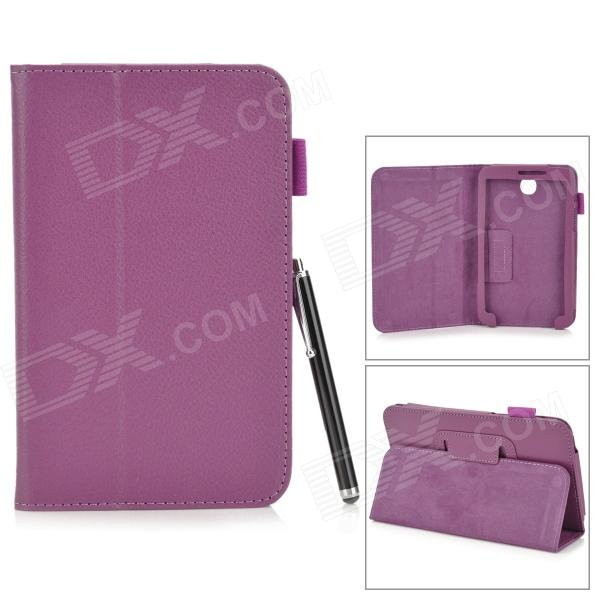 Protective PU Leather Case for Samsung Galaxy Tab 3 7.0 T210 / T211 / P3200 / P3210 - Purple protective pu leather case w stylus pen for samsung tab 3 7 0 t210 t211 p3200 p3210 orange