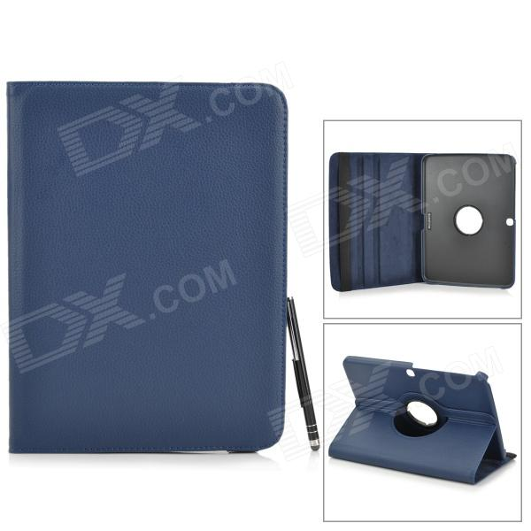 Protective PU Leather Case w/ Stylus Pen for Samsung Galaxy Tab 3 10.1 P5200 / P5210 - Dark Blue le cabaret комплект нижнего белья от le cabaret 93602 голубой