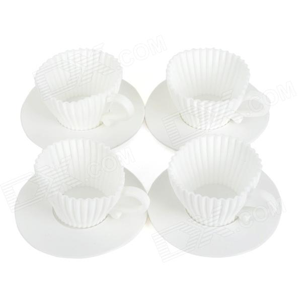 Silicone + Plastic Muffin Cake Mold Set - White (4 Sets) diy plastic popsicle mold set white