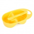 Sub-Grid PP Plastic Baby's Feeding Bowl + Spoon Set - Orange Yellow