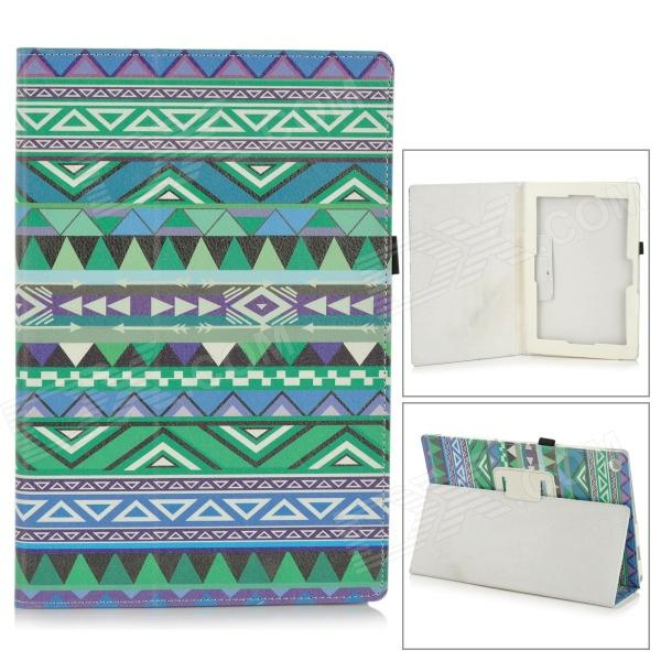 Stylish Protective PU Leather Case for Sony Xperia Tablet Z - Green + Blue + Multicolor one piece 1x brand new high quality silicon protective skin case cover for xbox 360 remote controller blue green mix color