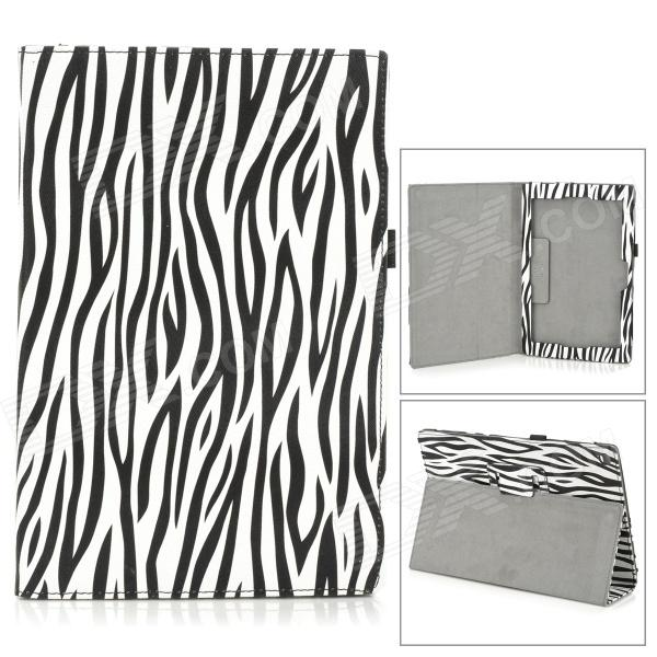 Zebra-Stripe Style Protective PU Leather Case for Sony Xperia Tablet Z - White + Black