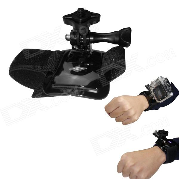BZ 93B Elastic Velcro Wrist Mount for Gopro Hero 4/ 3+ / 3 / 2 / 1 / SJ4000 - Black pannovo waterproof pu leather extra thick anti shock eva case for gopro hero 4 3 3 2 sj4000