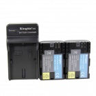 Kingma LP-E6 1400mAh Double Batteries w/ US Plug Charger for Canon Camera - Black (100~240V)
