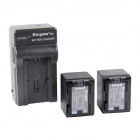 Kingma BP-727 2670mAh Double Batteries w/ US Plug Charger for Canon Camera - Black (100~240V)