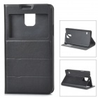 Protective PU Leather Case w/ Window + Stand for Samsung Galaxy S5 - Black
