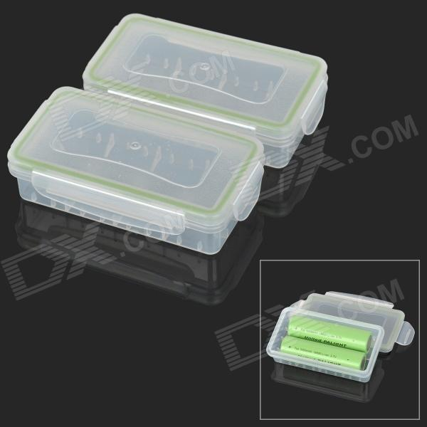 Protective Waterproof Storage Box for 2 x 18650 Batteries - White + Green 18650 battery protective storage case white light blue 2 pcs