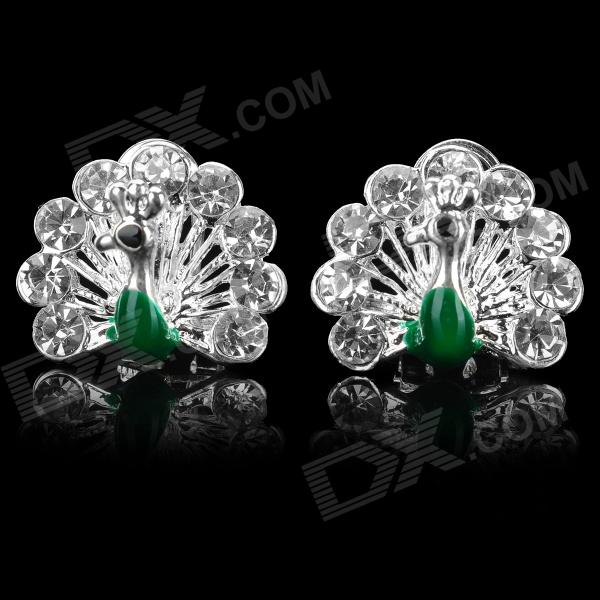 Peacock Style Aluminum Alloy Rhinestone Earrings - Silver + Green