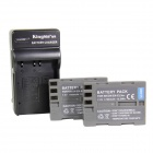 Kingma EN-EL3E+ 1600mAh Double Batteries w/ US Plug Charger for Nikon D100 + More - Grey