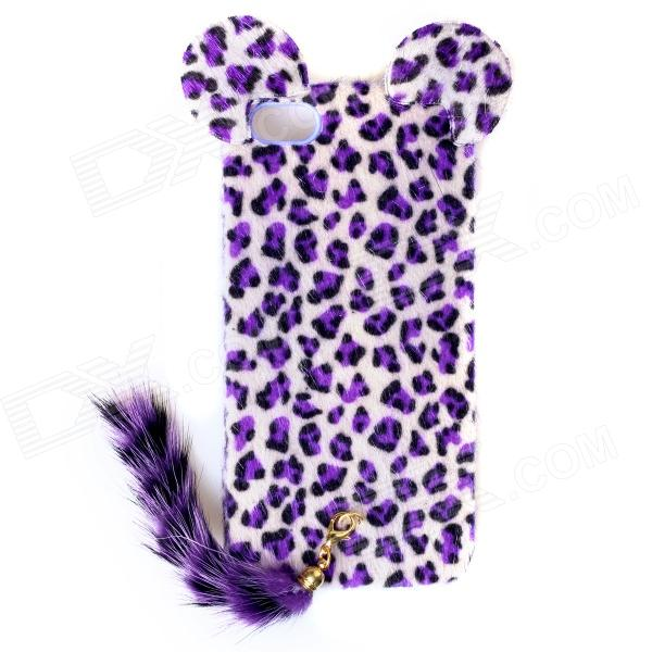 CM01 Stylish Leopard Style Protective Case w/ Ears & Tail for IPHONE 5 - Purple purple fashionable leopard leather skin hard cover for iphone 5c