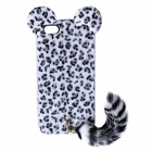 CM01 Stylish Leopard Style Protective Case w/ Ears & Tail for IPHONE 5 / 5S - Black + White