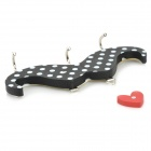 Cute Funny Mustache Style 3-in-1 Self-adhesive Hook w/ Heart Magnetic Sticker - Black + White