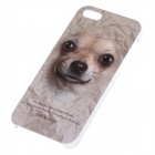 C200005 Animal Series Cute Dog Style Beskyttende Plast Back Case for IPHONE 5 / 5S - Hvit