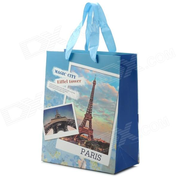 Stylish Eiffel Tower Pattern Paper Gift Bag - Light Blue