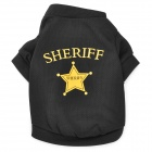 ''SHERIFF'' Pattern Dacron T-shirt for Pet Dog Cat - Black (Size S)