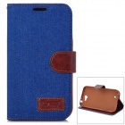 Denim Fabric Style Protective PU Leather Case for Samsung N7100 - Blue + Brown